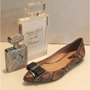 LOUISE et CIE Snakeskin FLATS Leather Silver BOW